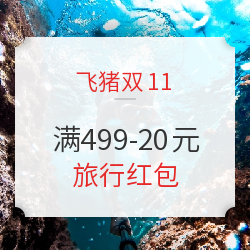 飞猪双11 满499-20元 旅行红包