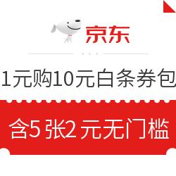京东 1元购5张2元无门槛白条立减券 10元白条券礼包